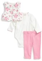 Little Me Infant Girl's Rose Bodysuit, Leggings & Quilted Vest Set