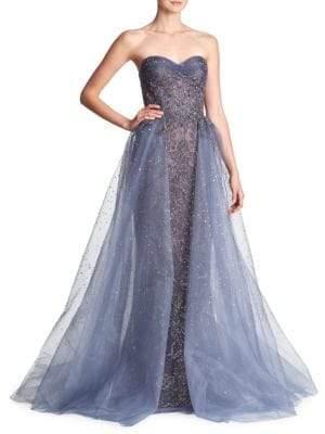Marchesa Women's Beaded Tulle Metallic Gown - Smokey Blue - Size 10