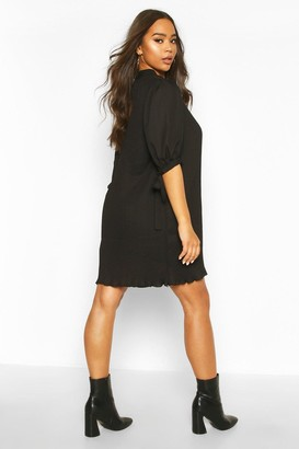 boohoo Pleated Bow Detail Swing Dress