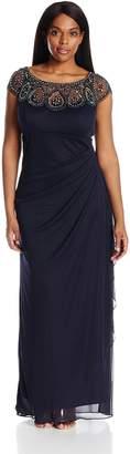 Xscape Evenings Women's Plus Size Long Smj with Bead/Illusion Top