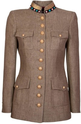 The Extreme Collection Brown Military Blazer Perseo