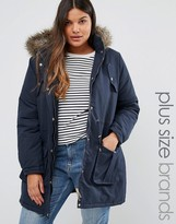 Brave Soul Plus Parka With Faux Fur Trim