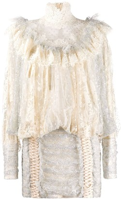 Zimmermann Lace Ruffled Mini Dress