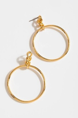 francesca's Reyna 90s Chain Circle Drop Earrings - Gold