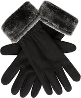 Yours Clothing Black Fleece Gloves With Faux Fur Trim