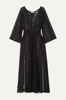 Melissa Odabash Nina Tie-detailed Crocheted Stretch-lace Kaftan - Black