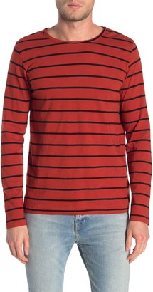 Nudie Jeans Ovar Striped Long Sleeve Slub T-Shirt