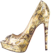 Brian Atwood Metallic Wagner Peep-Toe Pumps