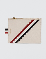 Thom Browne Pebble Grain and Calf Leather Small Coin Purse with RWB Diagonal Stripe