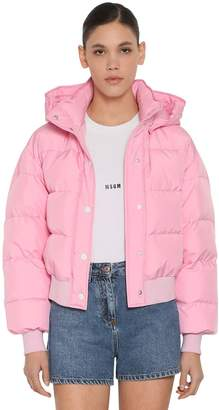 MSGM CROPPED DOWN JACKET W/ HOOD