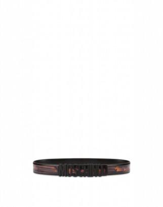 Moschino Abrasive Calf Belt Man Black Size 46 It - (30 Us)