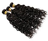 Vinsteen 8A Unprocessed Brazilian Virgin Hair Weaves Water Wave Natural Human Hair Extension 3 Bundles Silky Water Wave Natural Color Tangle&Shedding Free (3pcs 16 18 18 inch)