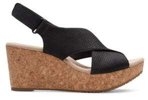 Clarks Leather Wedge Sandals
