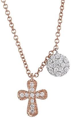 Meira T 14K Rose Gold Diamond Cross Round Pendant Necklace