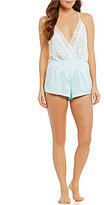 Flora Nikrooz Genevive Charmeuse & Lace Lounge Romper