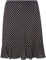 Dorothy Perkins Black Spotted Frill Hem Mini Skirt