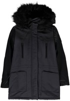 Little Eleven Paris Rock Imitation Leather Sleeve Lined Parka