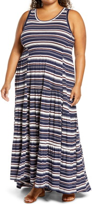 Caslon Tiered Smocked Waist Maxi Dress