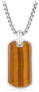 David Yurman Tag Enhancer Tigers-Eye and Sterling Silver Pendant Necklace