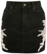 Topshop Moto lace applique denim skirt