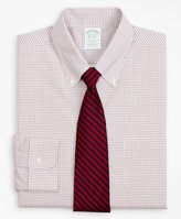 Brooks Brothers Stretch Milano Slim-Fit Dress Shirt, Non-Iron Poplin Button-Down Collar Small Grid Check