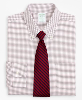 Brooks Brothers Stretch Milano Slim-Fit Dress Shirt, Non-Iron Poplin Button-Down Collar Small Grid Check