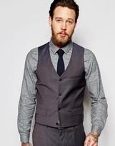 Asos Wedding Vest In Blue/Gray Tonic