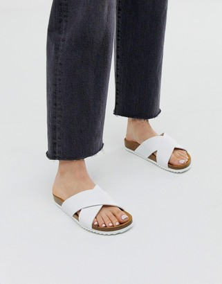 Office Hoxton white slider sandals