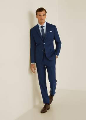 MANGO Slim fit microstructure suit blazer