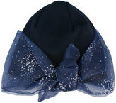 Federica Moretti glitter bow detail beanie - women - Cotton/Polyester - One Size