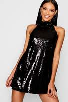 Boohoo Boutique Fiona Multi Sequin High Neck Swing Dress