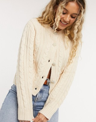 Emory Park vintage cardigan with crystal buttons in cream cable knit