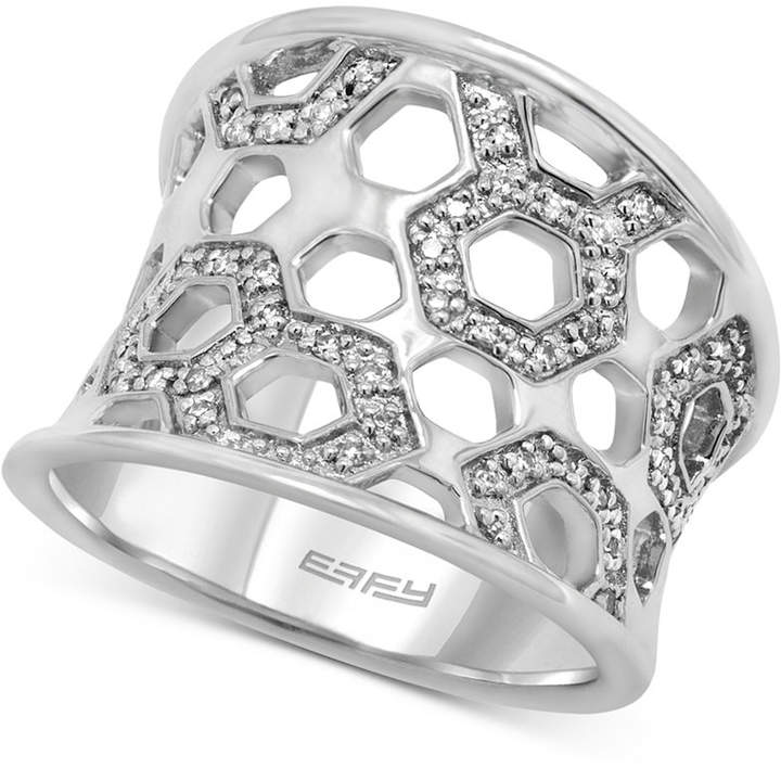 Effy Diamond Honeycomb Openwork Ring (1/4 ct. t.w.) in Sterling Silver