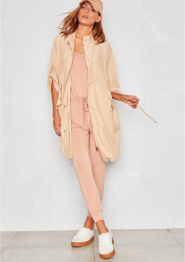 Missy Empire Kacia Nude Light Weight Parka Jacket