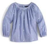 J.Crew Petite Women's Perfect Embroidered Chambray Top