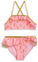 Flapdoodles Girls 7-16 Metallic Pineapple Bikini Swimsuit Set
