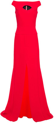 Roland Mouret Cutout Pleated Wool-crepe Gown