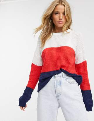 Brave Soul jumper in wide stripe-Multi