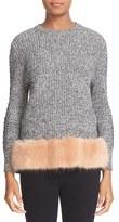 Opening Ceremony Women's Faux Fur Trim Sweater