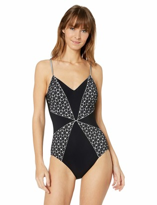 Gottex Women's Extra Coverage Thin Strap V-Neck One Piece Swimsuit
