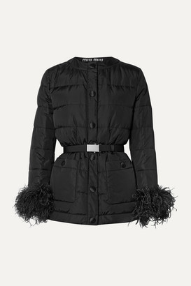 Miu Miu Feather-trimmed Quilted Shell Down Jacket - Black