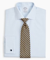 Brooks Brothers Stretch Regent Fitted Dress Shirt, Non-Iron Twill English Collar French Cuff Micro-Check
