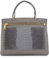 VBH Margutta Alligator-Trim Top-Handle Satchel Bag, Gray