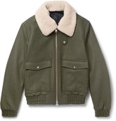 Ami - Shearling-trimmed Wool-blend Bomber Jacket
