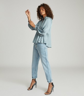 Reiss EVERLEY PLEAT DETAILED BLOUSE Teal