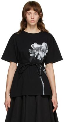 Valentino Black Tie Belt Peony T-Shirt