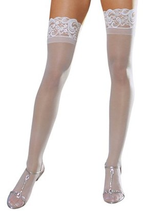 Dreamgirl White Sheer Thigh High with Lace Top 7030-W White