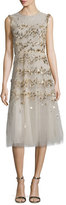 Oscar de la Renta Sleeveless Sequin-Embroidered Tulle Cocktail Dress, Gold