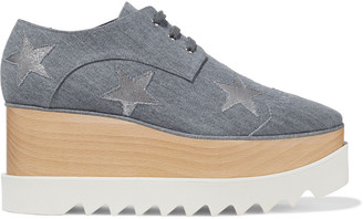 Stella McCartney Elyse Cutout Denim Platform Brogues