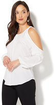 New York & Co. 7th Avenue - Pintucked Cold-Shoulder Blouse